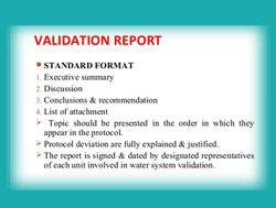 Validation Summary report for pharma